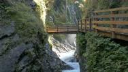4K Alps Berchtesgaden national park Wimbach Wimbachklamm waterfall Gorge valley Stock Footage