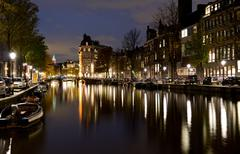 Amsterdam water canal during beautiful night with reflections Stock Photos