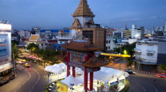 Landmark of Chinatown (Odeon Circle) in Bangkok Thailand Stock Footage