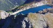 Artificial lake in hight mountain - Aerial view 4k Stock Footage