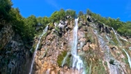 Detailed view of the beautiful waterfalls in Plitvice National Park Stock Footage