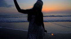Silhouette of young beautiful Indian American woman celebrating Anniversary  Stock Footage