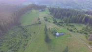 Lovely house in a mountain forest. aerial view Stock Footage