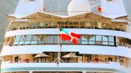 Bahamas civil ensign flag waving on the luxury cruise ship Stock Footage