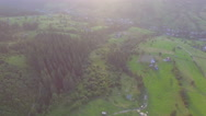 Sunset in the Ukrainian Carpathians. aerial view Stock Footage
