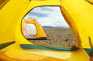 Two tents at the camp. View from inside Stock Photos