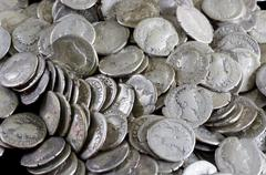 Antique coins are made of silver. Means of payment of past centuries Stock Photos