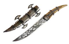 Smart dagger of the medieval soldier. It was used for hunting Stock Photos