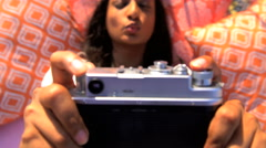Young happy attractive Asian Indian girl enjoying picnic making video diary  Stock Footage