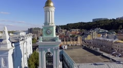 Aerial footage. Clock tower and the bells. Kiev. Podol. Stock Footage