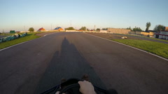 Professional drives go kart on track, Karting filmed from the driver's view Stock Footage