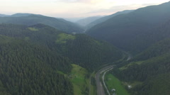 Twilight in the mountains. aerial footage Stock Footage