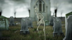 Skeleton on scary old cemetery. Halloween concept. 3d rendering Stock Footage