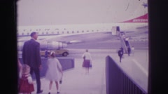 1967: family goes to the plain at the airport BRAZIL Stock Footage