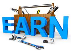 Earn Word Representing Position Occupation And Earns Stock Illustration