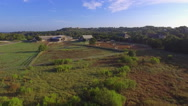 Drone Fly Over Central Texas Horse Stable at Sunrise Stock Footage
