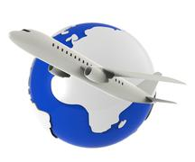 Worldwide Flights Showing Earth Airplane And Globalization Stock Illustration