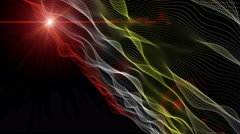 Futuristic animation with particle wave object and lights, 4096x2304 loop 4K Stock Footage