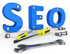 Search Engine Optimization Showing Gathering Data And Marketing Stock Illustration