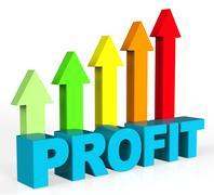 Increase Profit Indicating Progress Trading And Profits Stock Illustration