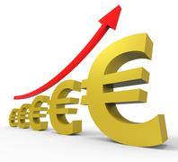 Gpp Increasing Meaning Euro Sign And Upward Stock Illustration