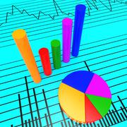 Graph Report Indicating Commercial Information And Finance Stock Illustration