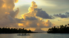 Time lapse view at sunset of tropical Bora Bora Island lagoon and Mt Otemanu in Stock Footage