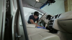 Car detailing series : Cleaning car seat Stock Footage