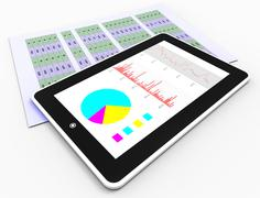 Online Reports Meaning Tablet Pc And Infograph Stock Illustration