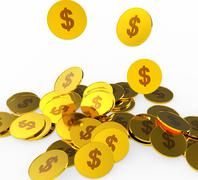 Dollar Coins Meaning American Dollars And Finances Stock Illustration