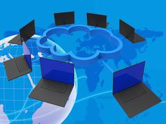 World Wide Indicates Lan Network And Computer Stock Illustration