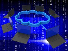 Cloud Computing Represents Lan Network And Communicate Stock Illustration