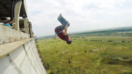 Jump back to the implementation of several acrobatic coups Stock Footage