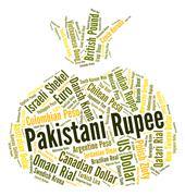 Pakistani Rupee Represents Forex Trading And Banknote Stock Illustration
