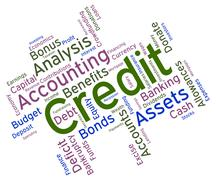 Credit Word Indicates Debit Card And Bankcard Piirros