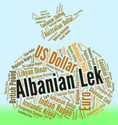 Albanian Lek Shows Foreign Exchange And Banknote Stock Illustration