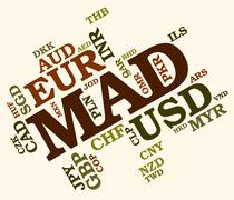 Mad Currency Indicates Exchange Rate And Currencies Stock Illustration
