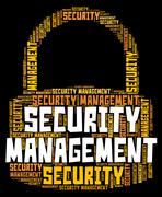 Security Management Represents Secured Wordcloud And Organization Stock Illustration
