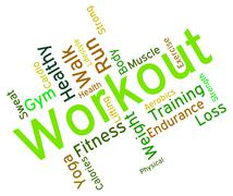 Workout Words Shows Physical Activity And Athletic Stock Illustration