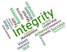 Integrity Words Shows Virtue Text And Honesty Stock Illustration
