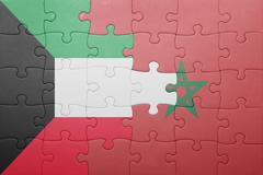 Puzzle with the national flag of morocco and kuwait . Stock Photos