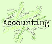 Accounting Words Indicates Balancing The Books And Accountant Stock Illustration