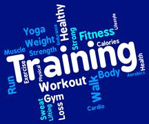 Training Words Represents Get Fit And Exercising Stock Illustration