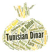 Tunisian Dinar Shows Worldwide Trading And Currencies Stock Illustration