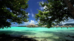 Beach trees and Overwater Bungalows in tropical aquamarine lagoon a luxury Stock Footage
