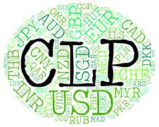 Clp Currency Shows Chilean Pesos And Broker Stock Illustration