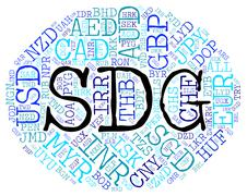Sdg Currency Shows Exchange Rate And Broker Stock Illustration