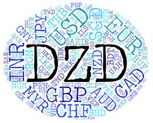 Dzd Currency Means Algerian Dinars And Banknote Stock Illustration