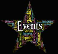 Events Star Represents Wordcloud Words And Function Stock Illustration