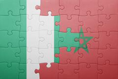 Puzzle with the national flag of morocco and  nigeria. Kuvituskuvat